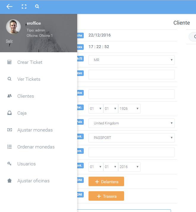 menu - software cambio de dinero